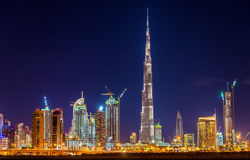 Night view of Dubai Downtown