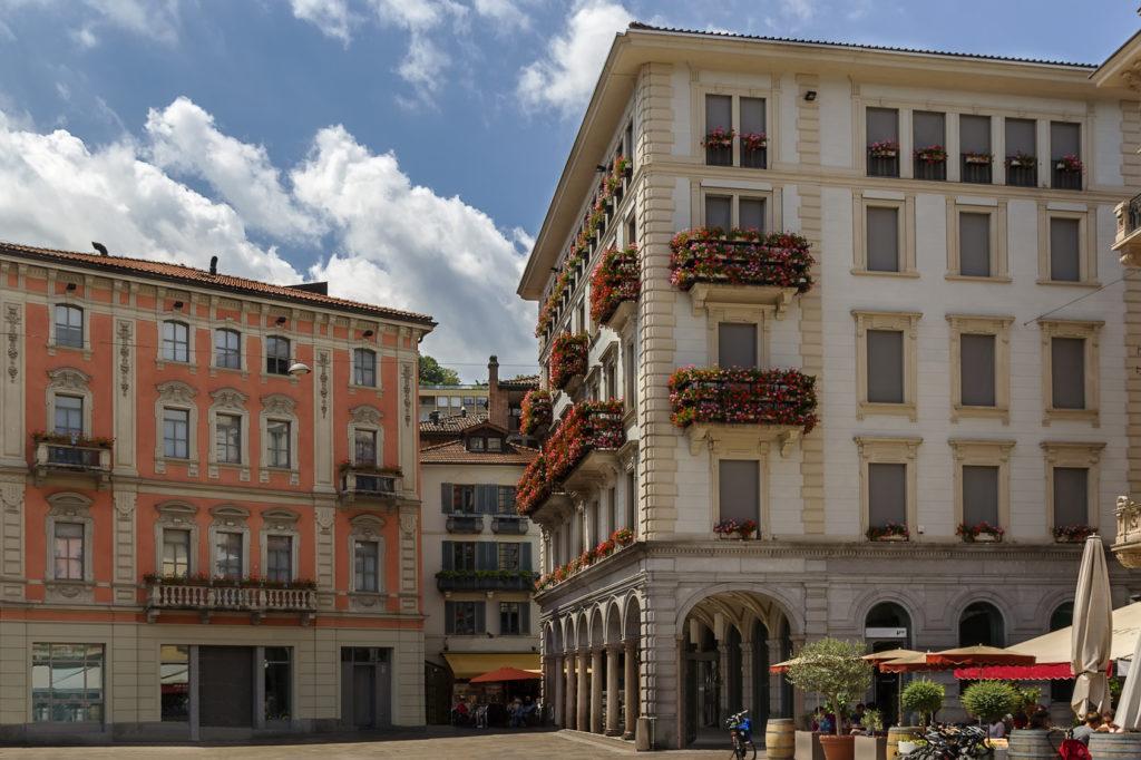 Historic building in Lugano old city, Switzerland